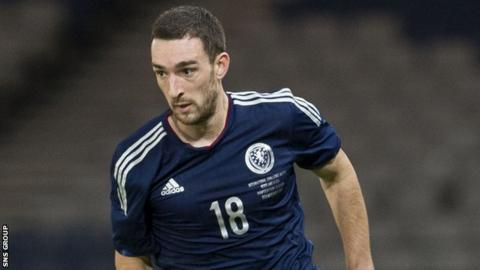 Lee Wallace in action for Scotland