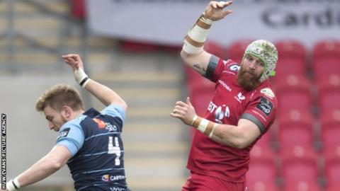 Jake Ball wins a lineout for Scarlets against Cardiff Blues