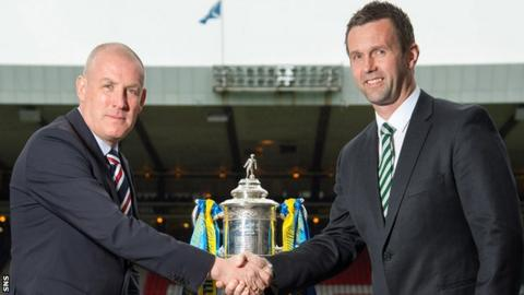 Rangers' Mark Warburton and Celtic's Ronny Deila shake hands