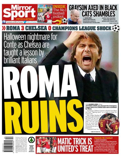 Daily Mirror's back page on Wednesday