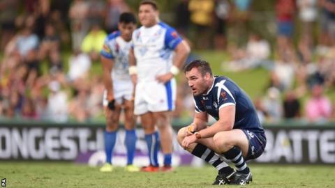 Scotland's Luke Douglas is left disappointed against Samoa