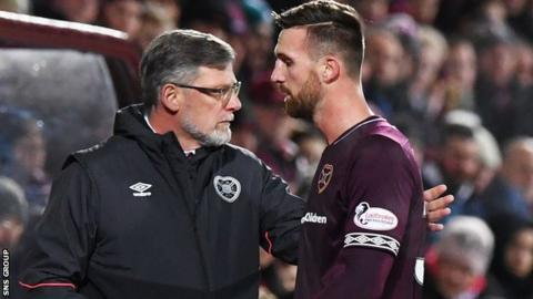Hearts' David Vanecek walks past manager Craig Levein after being substituted in the first half