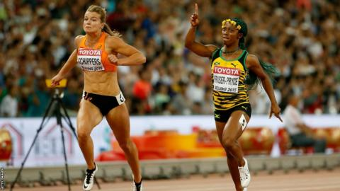 Shelly-Ann Fraser-Pryce of Jamaica (right) beats Dafne Schippers of the Netherlands to win 100m gold at the 2015 World Championships in Beijing