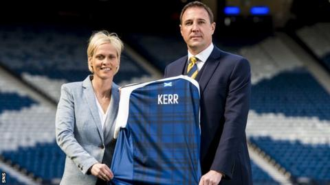 Shelley Kerr and SFA performance director Malky Mackay