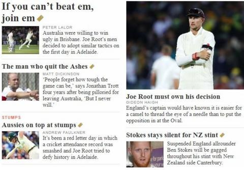The cricket pages of The Australian's website are dominated by sledging and Joe Root's decision to bowl first