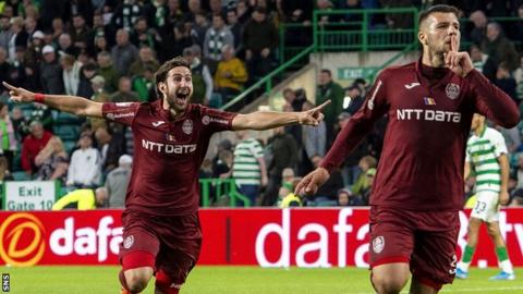 Cluj's George Tucudean celebrates scoring against Celtic