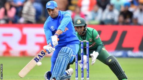 MS Dhoni batting for India against Bangladesh in a World Cup warm-up match
