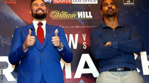 Tony Bellew (l) and David Haye (r) will fight again at London's O2 arena on 17 December