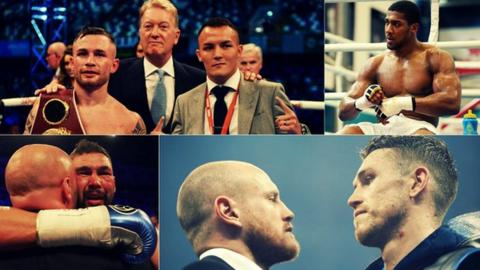 This is a collage of some of British boxing's biggest stars, namely Carl Frampton, Josh Warrington, Anthony Joshua, Tony Bellew, George Groves and Callum Smith, who all look set to fight before the end of 2018.