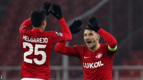 Spartak Moscow's Lorenzo Melgarejo celebrates with Salvatore Bocchetti