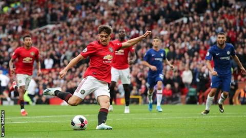 Daniel James scores for Manchester United against Chelsea in August 2019