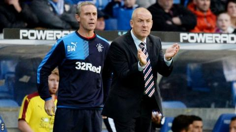 Rangers assistant David Weir and manager Mark Warburton