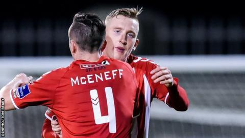 Aaron McEneff (4) with Ronan Curtis, who scored his first goal of the season