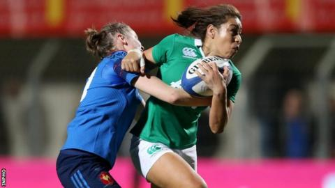 Sene Naoupu of Ireland in action against France's Audrey Abadie in Perpignan