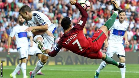 Cristiano Ronaldo playing against the Faroe Islands