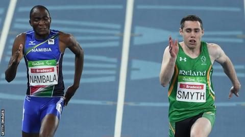 Jason Smyth finished 0.05 seconds ahead of Namibia's Johannes Nambala in his heat