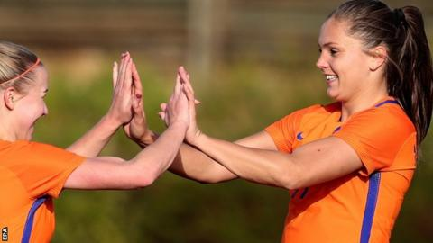 Lieke Martens (right) gave Netherlands the perfect start with two goals in Eindhoven