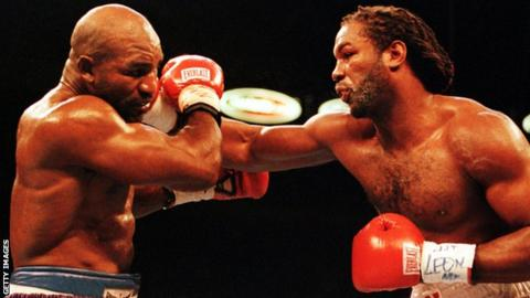 Lennox Lewis (right) beat Evander Holyfield in 1999