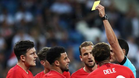 England players react after a booking at the 2018 World Cup