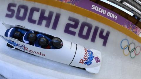 Russia bobsleigh team in Sochi