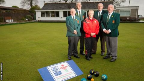 Terry Hopkins, Secretary Welsh Bowling Association, Ray Davies Treasurer Welsh Bowling Association, Beryl Holmes Welsh Women's Bowling Association, John Manfield Assistant Secretary Welsh Bowling Association and Alun Hodges, Event Manager of 2019 World Bowls Atlantic Championships.