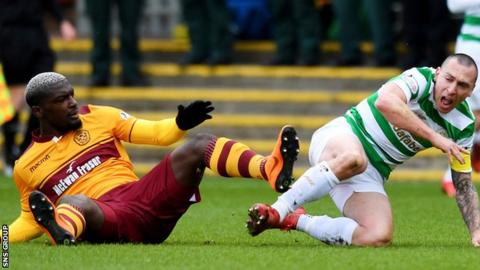 Cedric Kipre was sent off after reacting to a shove from Celtic captain Scott Brown