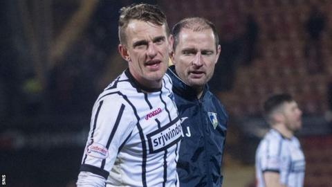 Dunfermline Athletic midfielder Dean Shiels and manager Allan Johnston