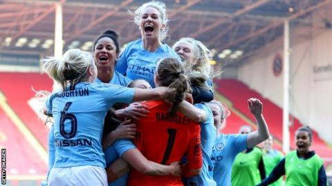 Manchester City celebrate victory over Arsenal