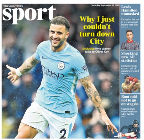 The Times sport section on Saturday