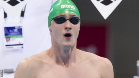 Conor Ferguson was fastest in the 100m backstroke heats and second quickest in the semi-final