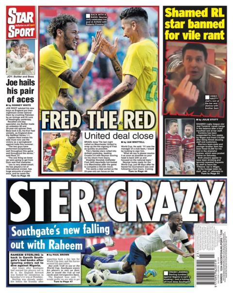 Monday's Star back page