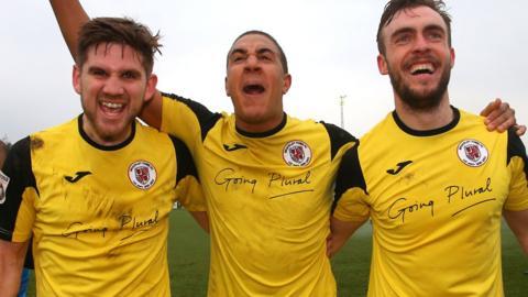 Brackley Town celebrate reaching the FA Trophy final