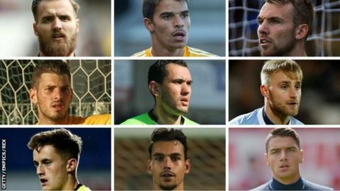 Port Vale's nine goalkeepers in 2017 (top row, from left): Jak Alnwick, Miguel Santos, Ryan Boot (middle row) Leo Fasan, Deniz Mehmet, Rob Lainton, (bottom row) Sam Hornby, Kelle Roos, Dimi Evtimov