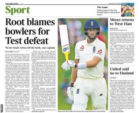The back page of Monday's Times