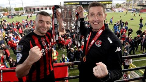Crusaders captain Colin Coates and manager Stephen Baxter are chasing a third straight Premiership triumph