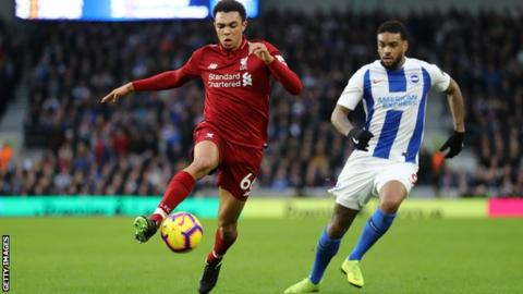 Liverpool's Trent Alexander-Arnold out for up to month with knee injury