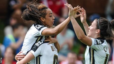 Jess Clarke celebrates a goal