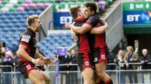 Edinburgh celebrate Tom Brown's match-winning try at Murrayfield
