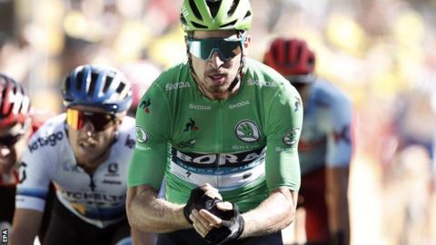 Peter Sagan celebrates winning stage six of the 2019 Tour de France