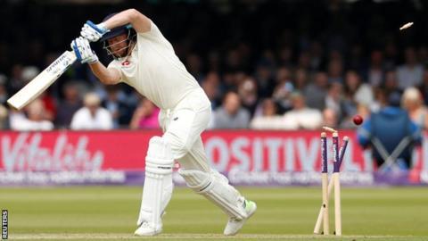 England's Jonny Bairstow is bowled