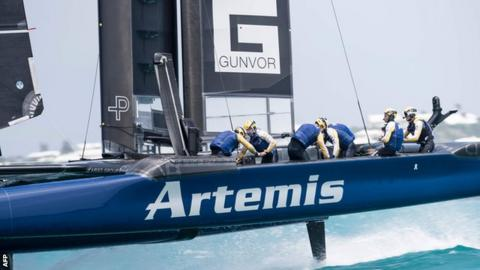 The Sweden crew in action at the America's Cup