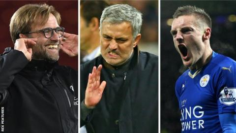 Jose Mourinho, Jamie Vardy, Jurgen Klopp