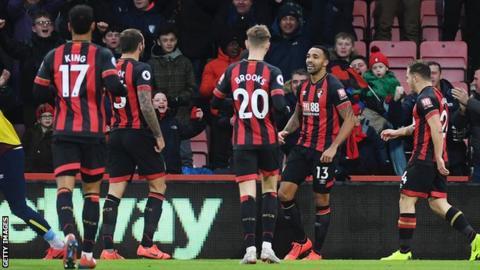 Bournemouth celebrate Callum Wilson's opener against West Ham