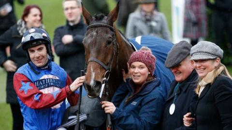 Winning team: Paisley Park with jockey Aidan Coleman, owner Andrew Gemmell and trainer Emma Lavelle