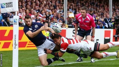 Rugby Tommy Seymour tackled at 2015 Rugby World Cup