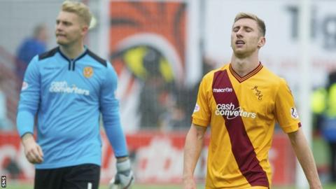 Motherwell players after the defeat to Hamilton