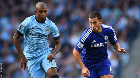 Eden Hazard outruns Fernandinho