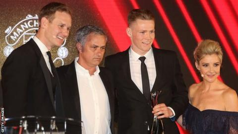 Jose Mourinho (second left) and Scott McTominay (second right)