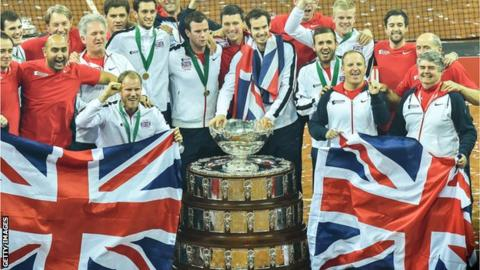 Great Britain at the Davis Cup final last year