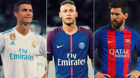 Ronaldo, Neymar and Messi